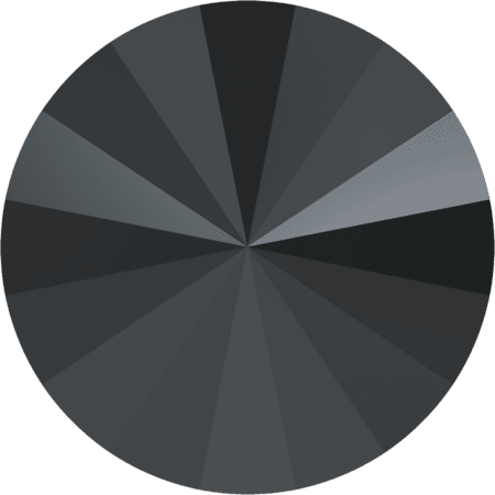 Swarovski 1122 – Rivoli Chaton, Jet Hematite