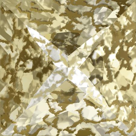 Swarovski 4418 - XILION Pointed Square, CR Gold Patina