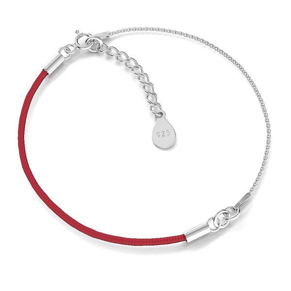 Основа за гривна червен конец сребро