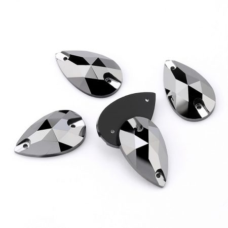 Капки кристали за зашиване, черен цвят с ефект, рокли трика