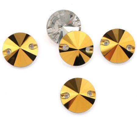 Кръгли кристали за зашиване, златен цвят, художествена гимнастика