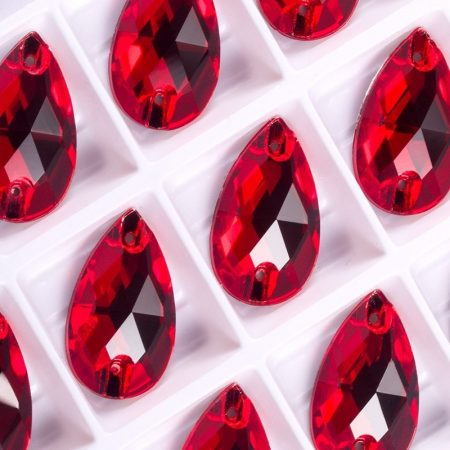 Капки кристали за зашиване, червени