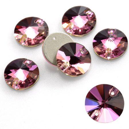 Кръгли кристали за зашиване, розови, художествена гимнастика, танци, рокли