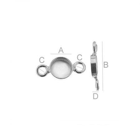 Сребърна основа за гривна, празен кръг