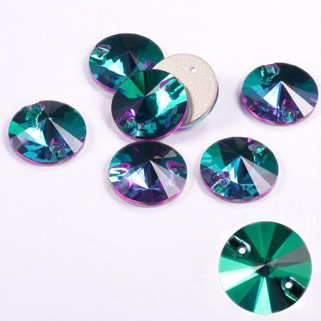 Кръгли кристали за зашиване, зелени