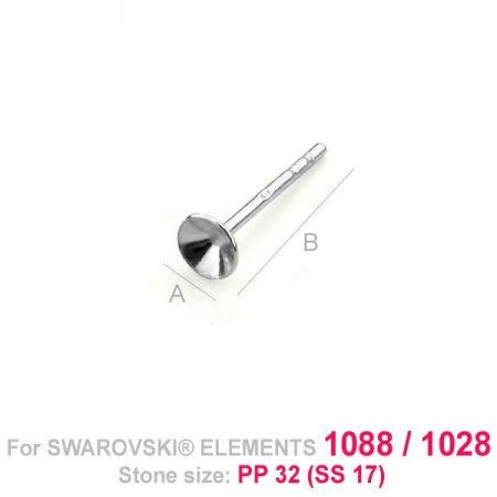 Сребърни Основи за Обеци с кристали Swarovski
