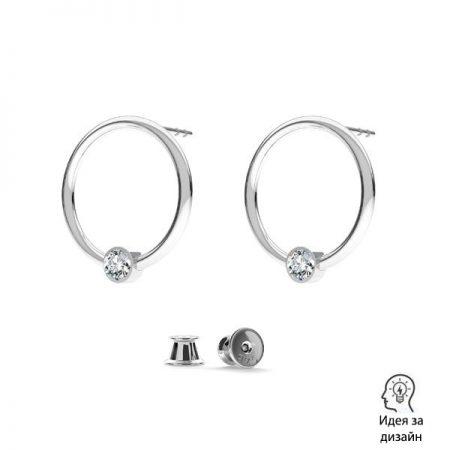 Сребърни елементи обеци с кристал